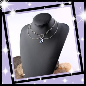 New! Aura Crystal Crescent Moon Choker Necklace